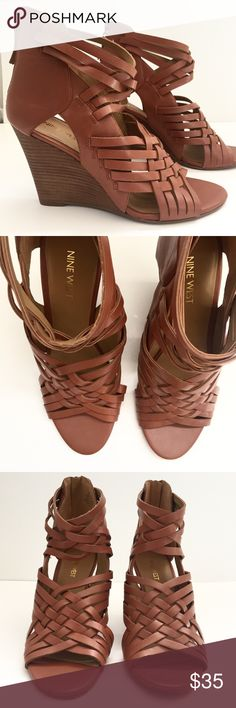 Nine West sexy wedge sandals Perfect neutral summer sandal! Incredibly sexy! 4 inch heel  Size 8 1/2 Cognac with brown wood-look wedge heel Never worn Original $79 $35 Nine West Shoes Wedges