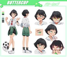 BUTTERCUP character sheet by pommiie on DeviantArt Character Sheet, Character Design, Powerpuff Girls Cartoon, Power Puff Girls Z, Super Nana, Arte Do Hip Hop, Yandere Anime, Ppg And Rrb, Butches