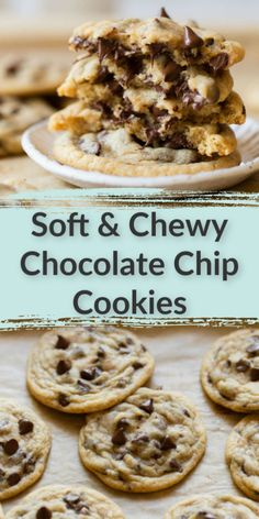 These homemade chocolate chip cookies are extra soft, thick, and chewy. This is my FAVORITE recipe forchocolate chips cookies and they turn out perfect every time! #easy #homemade #thebest #chocolatechip #cookies #livewellbakeoften Köstliche Desserts, Delicious Desserts, Yummy Food, Health Desserts, Fun Baking Recipes, Easy Cookie Recipes, Cokies Recipes, Cookie Ideas, Homemade Chocolate Chip Cookies