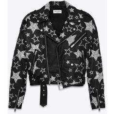 Saint Laurent 80's Studded Motorcycle Jacket in Black and Clear... ($22) ❤ liked on Polyvore featuring outerwear, jackets, studded biker jacket, rider jacket, studded moto jacket, yves saint laurent jacket and moto jackets