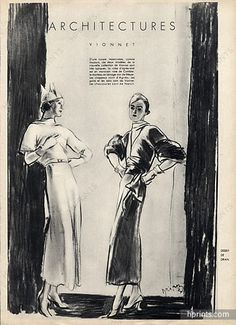 Madeleine Vionnet 1933 Impeccable, Typical, Coat and Dress, Etienne Drian