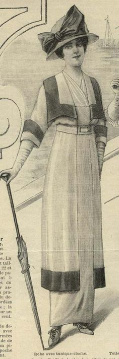 June 1914 Cloche tunic dress----its hard to believe this is what they were wearing in 1914....so stylish