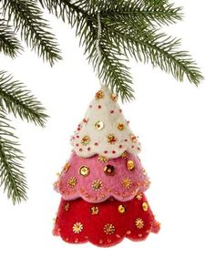 Tiered Red Tree Felt Holiday Ornament - Silk Road Bazaar (O) Women in Kyrgyzstan made this ornament by hand from felt. With a loop for hanging and accented with sequins and beads, the ornament measures 5 inches tall. Whimsical Christmas Trees, Felt Christmas Decorations, Felt Christmas Ornaments, Handmade Christmas, Christmas Crafts, Red Christmas, Christmas Tables, Christmas Patterns, Nordic Christmas