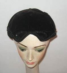 Black Velvet Hat . velvet topper . widow's peak hat . black velvet topper . beaded velvet hat . art deco topper by vintagous on Etsy