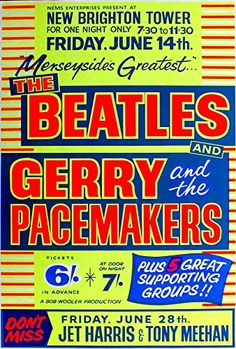 """The Beatles / Gerry & The Pacemakers - New Brighton Tower."" Fantastic A4 Glossy Art Print Taken from A Vintage Concert Poster by Design Artist http://www.amazon.co.uk/dp/B01560R0RO/ref=cm_sw_r_pi_dp_9Ys8vb1XFRP68"