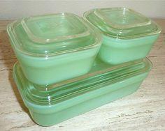 Fire King Jadite Colonial Rim 6 PC Refrigerator Dish Box Set Jadeite Green | eBay