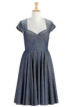 Pleated corset bodice chambray dress - eShakti