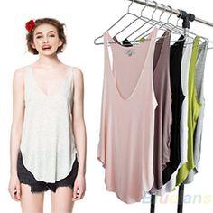 Fashion Womens Summer Loose Sleeveless V-Neck Vest Tank Tops T-Shirt B84U #Phoenix1900US #LooseShirt #Casual