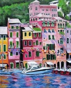 Portofino, Genova, Liguria >>by Portofino, one of the best place I ever seen. by Portofino, What else? Ansel Adams, Sestri Levante, Portofino Italy, Italian Style, Italian Art, Artist Painting, Acrylic Paintings, Large Art, Impressionism