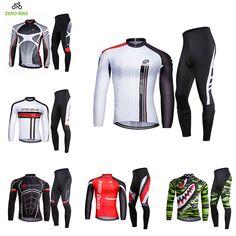 ZEROBIKE Men's Long Sleeve Cycling Jersey Mountain Bike Full zipper Jacket and Pants 3D Gel Pad Cycling Clothing Ciclismo