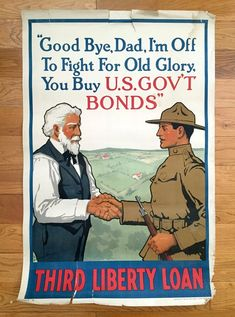 Original 1918 Good Bye Dad, I'm Off to Fight WWI Poster by Laurence Harris – Women of America, Buy War Stamps, World War One, Doughboy