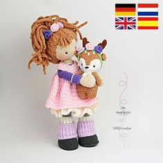 Crochet pattern for doll MIA & deer LAYLA Deutsch English