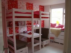the boo and the boy: loft beds - a bed and a table/chairs for playtime :)