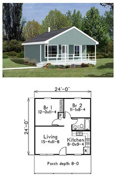 Cabin Style House Plan Number 85939 with 2 Bed, 1 Bath Narrow Lot House Plan 85939 Narrow Lot House Plans, Small House Floor Plans, Cabin House Plans, Tiny House Cabin, Tiny House Living, Tiny House Design, Cabin Homes, Tiny Houses, Two Bedroom Tiny House