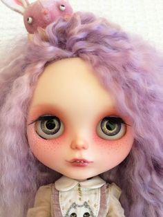 OOAK-Blythe-Doll-Custom-Purple-Re-Root-by-Katinka-Doll-with-Dress-Bunny-Headband