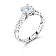 Princess Cut Solitaire with Princess Channel Set Shoulders ER 2014 - http://www.voltairediamonds.ie/product/melee/princess-cut-solitaire-with-princess-channel-set-shoulders-er-2014/