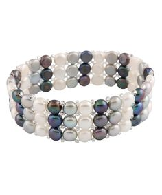 This Black & Gray Pearl Triple Row Stretch Bracelet by Splendid Pearls is perfect! #zulilyfinds