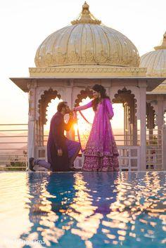 Romantic portrait of indian bride and groom. http://www.maharaniweddings.com/gallery/photo/82735