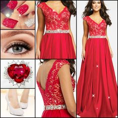 Amazing red dress for parties, like to have a try? #PartyDress #PromDress #Ring #Shoes #Fashion #FreshFashion