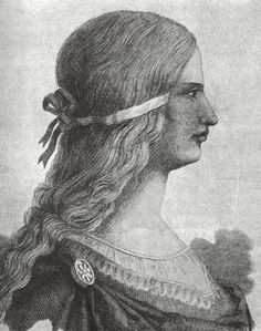 "Late contemporary depiction of Lucrezia Borgia, possibly based on the portrait medals. The image is said to be from Vatican archives not accessible to the public (see book ""In the Pillory"" a blasting assessment of Pope Alexander and the Borgias."