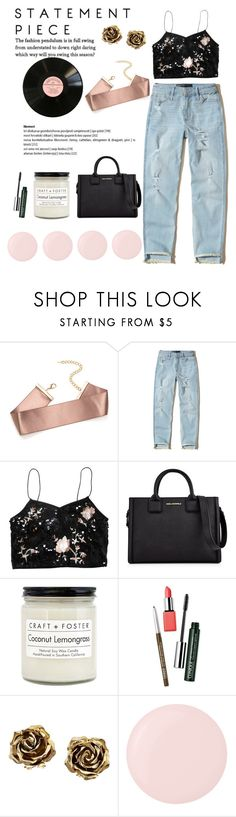 """""""Statement BF Jeans"""" by essentiallyessence ❤ liked on Polyvore featuring Hollister Co., Topshop, Karl Lagerfeld, Craft + Foster, Clinique, Tiffany & Co. and Deborah Lippmann"""