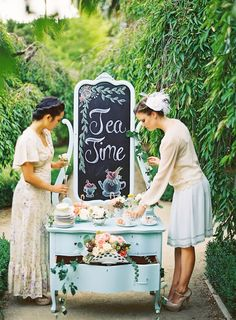 bridesmaids tea party ideas with vinatge wedding dresser