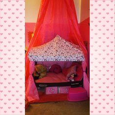 my daughters mini mouse toddler bed i made from a pack and play,ive seen ones on here and they are sooo plain and dull i had to spice hers up a lot more i mean why not!? one of the best pinterest ideas ive came across..