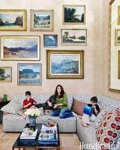living room; vintage portrait; oil painting; wall decor; art arrangement   Interior Designer: Ellen Niven