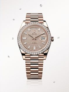 The Rolex Day-Date 40 in Everose gold, with a diamond paved dial and President bracelet.