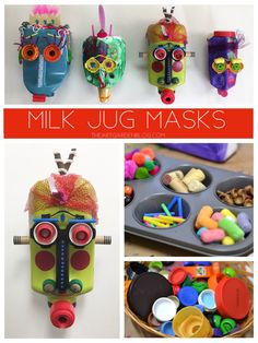 Milk Jug Faces - Create these fun Milk Jug Masks using recycled materials / Recycled art / Art lesson ideas - Diy Crafts For Kids, Projects For Kids, Art For Kids, Craft Projects, Arts And Crafts, Preschool Crafts, Recycled Art Projects, Recycled Crafts, Recycled Materials