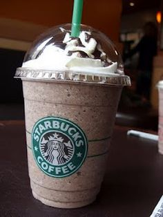 MY BIRTHDAY DRINK: Starbucks Java Chip Frappacino done my way: no whip, chocolate curls instead of drizzle on top. Venti, please!