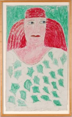 Lee Godie Woman With Pink Hair.  1980's. Mixed media on canvas.