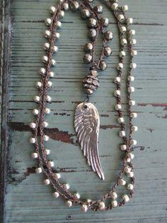 Angel wing crochet necklace  Summer Essential  long by slashKnots