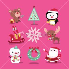 Modern Whimsical Christmas Icons Illustration