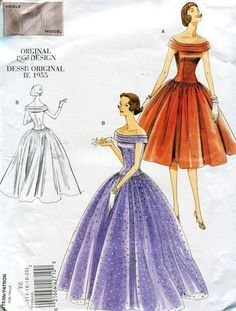 Vogue 1094 Retro 1950's 1955 Evening Length Gown Dress 2009 Reproduction Old Store Stock Uncut by LanetzLivingPatterns on Etsy