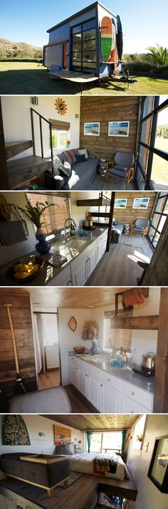 Built as a mobile surf shack for a Santa Barbara couple, the 20-foot tiny home allows them to stay close to the beach where they enjoy surfing and rowing. #beachcottagestylesurfshack