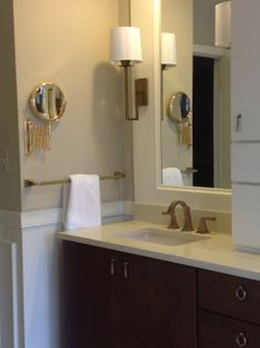 custom vanity, brushed brass and gold fixtures, refined master bathroom, benjamin moore grant beige, crema amalfi quartz countertops, mcubed interiors