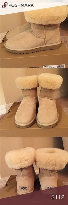 UGG CLASSIC SHORT BOOT ** 100% Genuine UGG Classic Short Boot ** Brand New and Never Worn. Sand Color (very light beige) suede upper with warm yet breathable ultra plush shearling wool lining. UGG logo at heel. In original box. UGG Shoes Ankle Boots & Booties