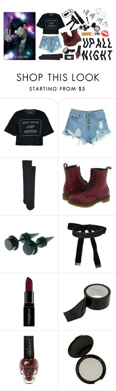 """""""/- don't forget about me -/"""" by ggspercival on Polyvore featuring WithChic, Wolford, Dr. Martens and Smashbox"""