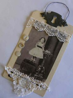 vintage looking tag: lace, buttons, and photo tag with metal keyhole hanger