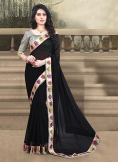Our online store has a beautiful collection of sarees. Order this strange black designer saree for festival and party.