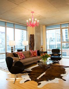 Modern Classics Living Room with Pops of Pink!