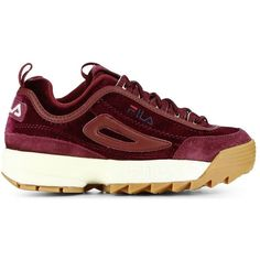 FILA's Disruptor Sneaker Arrives in Two Velvet Colorways ❤ liked on Polyvore featuring shoes, sneakers, velvet sneakers, velvet shoes, chunky shoes, chunky sneakers and fila