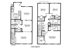 Naval Complex San Diego – The Village at Serra Mesa Neighborhood: 3 bedroom 2.5 bathroom home floor plan.