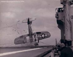 The dangers of landing on an aircraft carrier. #WWII