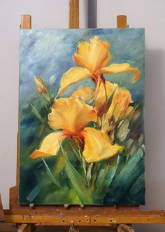 Yellow orchid flower palette knife painting. Oleg Buyko