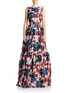 Erdem Alouette Tiered Floral Silk Gown