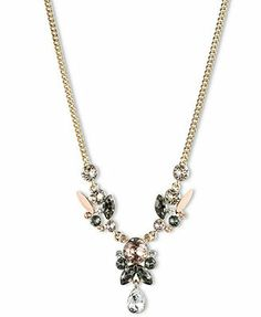 Givenchy 10k Gold-Plated Crystal Cluster Y Necklace
