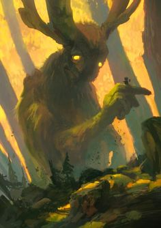 Forest Spirit I, an art print by Tuomas Korpi. Fantasy Magic, Fantasy World, Fantasy Art, Fantasy Creatures, Mythical Creatures, Forest Creatures, Arte Horror, Creature Concept, Fantasy Inspiration