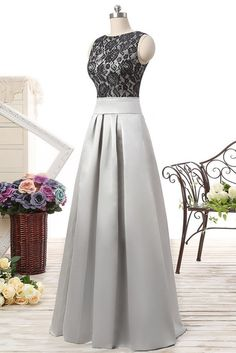 Gray satins lace round-neck long prom dresses,elegant formal dresses - occasion dresses by Sweetheartgirls Sweet 16 Dresses, Elegant Dresses, Beautiful Dresses, Formal Dresses, Prom Dresses Long With Sleeves, Grad Dresses, Homecoming Dresses, Dresses Dresses, Evening Dresses For Weddings